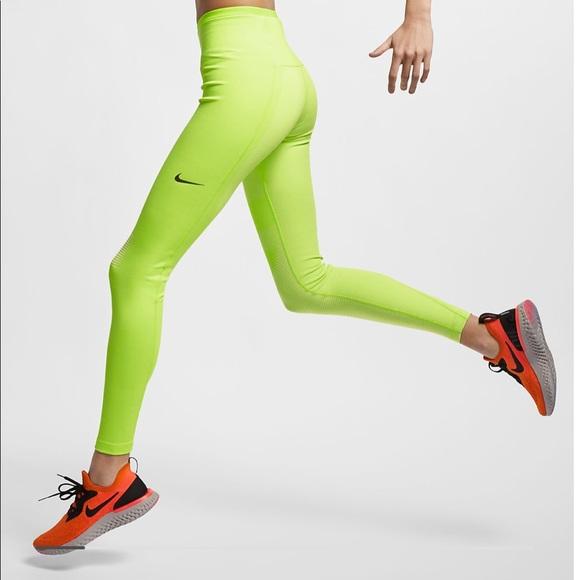 70a1bcd77be6f Nike Pants | Bnwt Tech Running Tights Neon Volt Xs | Poshmark